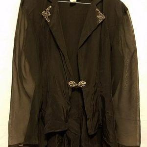 Sheer hi/low elegantly detailed blouse